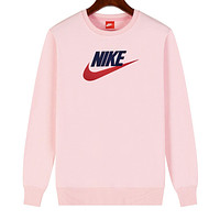 NIKE 2019 new sports and leisure classic print logo long-sleeved sweater Pink