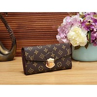 LV Louis Vuitton Fashion Women Shopping Leather Buckle Wallet Purse Coffee Print I-WMXB-PFSH