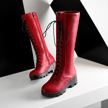 Woman's Lace Up Tall Boots