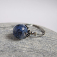 Sterling Silver, Sodalite Ring, Natural Stone, Wire Wrap Ring, Denim Blue, Dark Blue Gemstone, Oxidized Silver Size 7