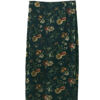 Vintage Velvet High Waist Print floral Pencil Skirt   Woman Velour Knee-length Package hips Skirts femme