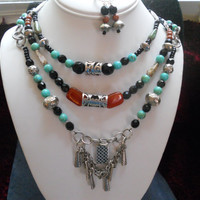 Beaded Necklace with Matching Earrings, 3 Strands and Center Piece....FREE SHIPPING