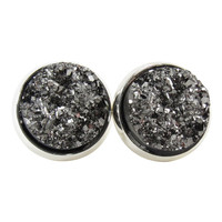Metallic Dark Gray Faux Druzy Stud Earrings, Glitter Jewelry