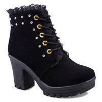 Black Lace-Up Ankle Boots with Rhinestones Design