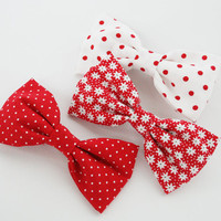 Set of 3 Red Bow Hair Clips for Girls