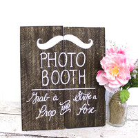 Wooden Photo Booth Sign Rustic Chic Wedding Decor Photo Prop Sign - Free Standing Sign