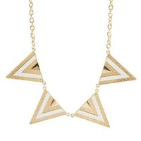 Textured Triangle Collar Necklace by Charlotte Russe - White