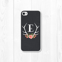 Personalized iPhone Case - Coral Peach Floral Monogram iPhone Case - iPhone 4 / 4s Custom iPhone Case - iPhone 5 - iPhone 5s Case - Antler