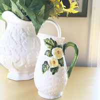 Lefton Bone China Decorative Rustic Daisy White Pitcher, Basketweave Small White Creamer Pitcher, Floral Milk Pitcher, White Pitcher Vase