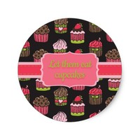 Cute Pink Lime Green Let them Eat Cupcakes Classic Round Sticker