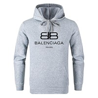 Balenciaga new street fashion men and women solid color hooded sweater Grey