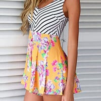 Stripe and Floral Print Romper