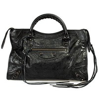 Balenciaga Women's Classic City Lambskin Bag, Black, Medium