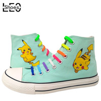 Anime Pokemon Kids Graffiti Painted Canvas Shoes Breathable Sneakers Cartoon Pikachu Children Boys Girls High Top Student Shoes