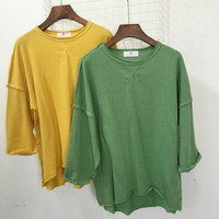 Lantern Sleeves Drop Shoulders Round Neck Blouse With Stitching