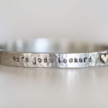 Personalized New Baby Gift / Birth Details / Commemorative New Baby Bangle / Gift For New Mom / Personalized New Mom Gift