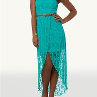 Belted Lace High Low Tube Dress   rue21