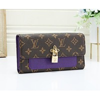 Louis Vuitton LV Fashion New Monogram Print Leather Lock Accessories Purse Wallet Clutch Bag