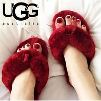 UGG Fashion Women Warm Wool Cute Bowknot Slippers Shoes Flip-Flops