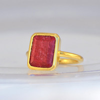Ruby stackable ring - Vermeil Gold or Sterling Silver ring - Rectangle ring- Statement Ring - July Birthstone
