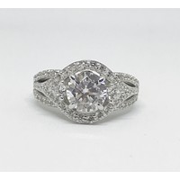 A Perfect 1.5CT Round Cut Halo Russian Lab Diamond Engagement Ring