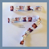 FROZEN Elastic Hair TIE and HEADBAND, Print, Blue and Purple - No Tug Yoga Ties, Girls Gift, Party Favor, Fun For All Ages