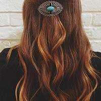 Free People Womens 2 Pack Side Barrette - Turquoise / Silver, One