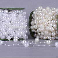 2pcs Pearls Beads Chain Garland Flowers Wedding Party Decoration Bead Chain DIY crafts bride dress accessories supplies = 1929897540