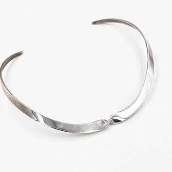 Vintage Taxco Sterling Silver Twist Collar Necklace, Mexico, Torc, Torque, Modernist, Thick, 33 Grams, Chic and Stylish! #c458