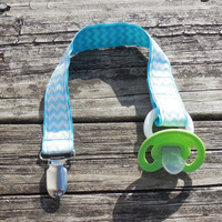 Chevron Ribbon, Aqua Pacifier Holder, Binky Clip, Pacifier Clip or Toy Clip