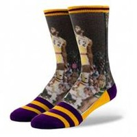 Buy Stance James Worthy Socks in Yellow & Purple Colorway - NBA Lakers Socks - Online at Sunglass Garage - Free Shipping
