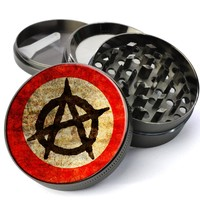 Anarchy Symbol Deluxe Metal 5 Piece Herb Grinder With Fine Screen - Cheap Grinders You Can Customize
