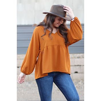 {Camel} Chic Babydoll Blouse