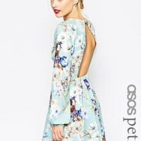ASOS PETITE skater Dress with Open Back in Floral Print at asos.com