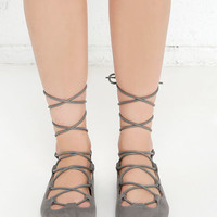 Happy Trending Grey Suede Lace-Up Flats