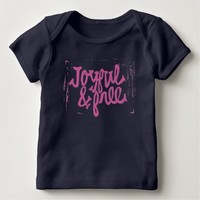 Joyful and Free Navy Blue & Purple Lettering Quote Baby T-Shirt