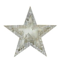 "10"" Battery Operated LED Lighted Rustic Wooden Star Christmas Decoration - House"