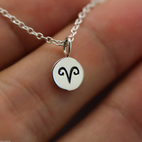 Dainty Circle Coin 12 Constellation Ariel Necklace