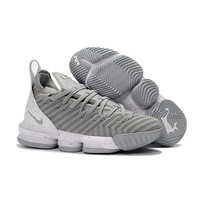 Nike LeBron 16 Gray White Sneakers - Best Deal Online