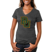 Baylor Bears Ladies Distressed Secondary Tri-Blend V-Neck T-Shirt - Charcoal