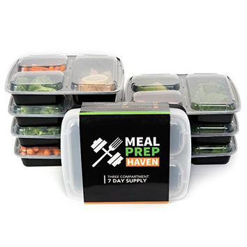Meal Prep Haven 3 Compartment Food Containers with Airtight Lid, Bento Box, Lunch Box for Meal Prep, 21 Day Fix and Portion Control, Set of 7