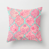 Moroccan Floral Lattice Arrangement in Pinks Throw Pillow by Micklyn