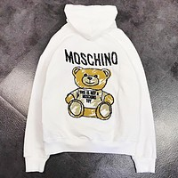 Moschino New fashion bust and back embroidery letter bear hooded long sleeve sweater top White