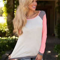 Round Neck Stitching Long-Sleeved T-Shirt in Multi Color