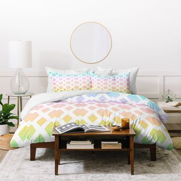 Lisa Argyropoulos Daffy Lattice Pastel Rainbow Duvet Cover