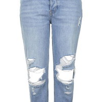 MOTO Blue Ripped Hayden Jeans - Topshop