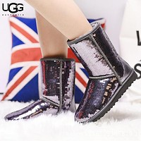 UGG New Fashion Sequin Keep Warm Boost Shoes
