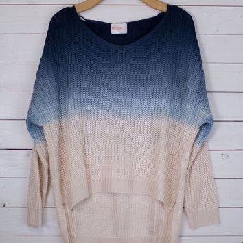 Ombre Blue Knit Sweater