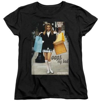 Clueless Womens T-Shirt Cher Oops My Bad Black Tee