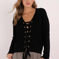 In The Thick Of It Lace Up Sweater